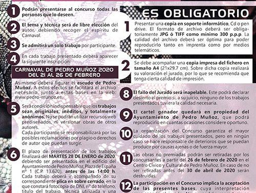 Pedro Muñoz convoca el concurso del cartel de Carnaval 2020