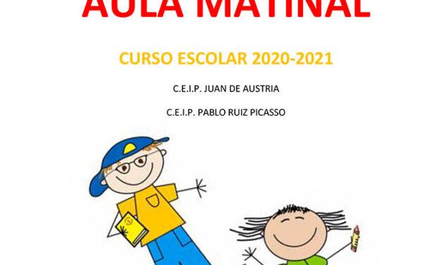 Del 15 al 30 de Junio se abre el plazo para la presentación de solicitudes del servicio de aula matinal para el curso escolar 2020-2021